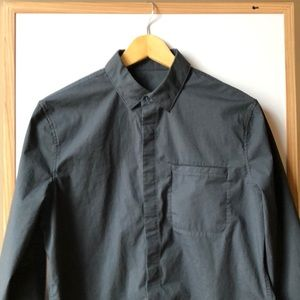 men's lululemon button down, slate grey size small